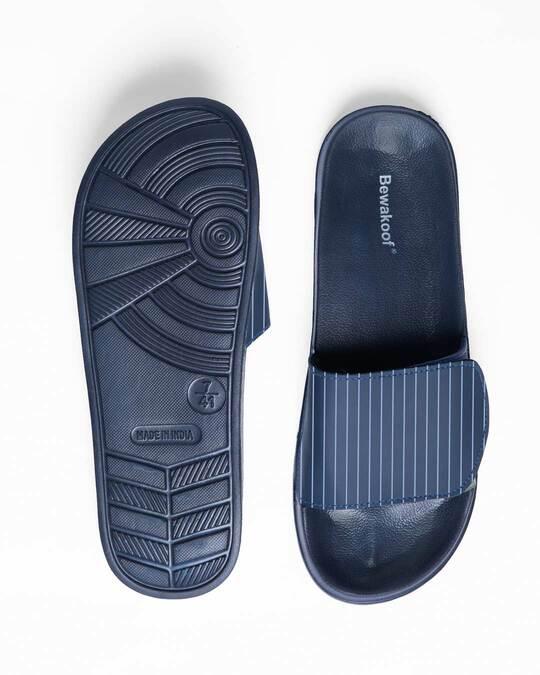 Shop Blue Stripes Lightweight Adjustable Strap Women Slider
