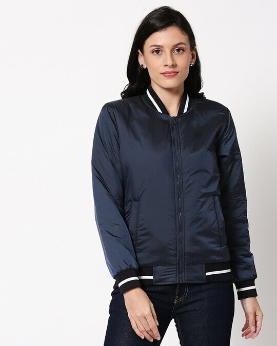 Shop Blue Utra Varsity Bomber Jacket-Back
