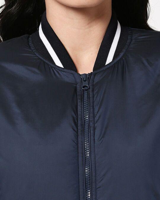 Shop Blue Utra Varsity Bomber Jacket