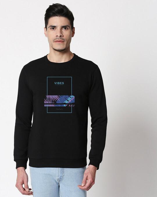 Shop Blue Vibes Fleece Sweater Black-Front