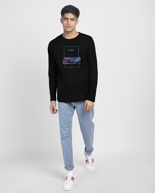 Shop Blue Vibes Full Sleeve T-Shirt Black-Full