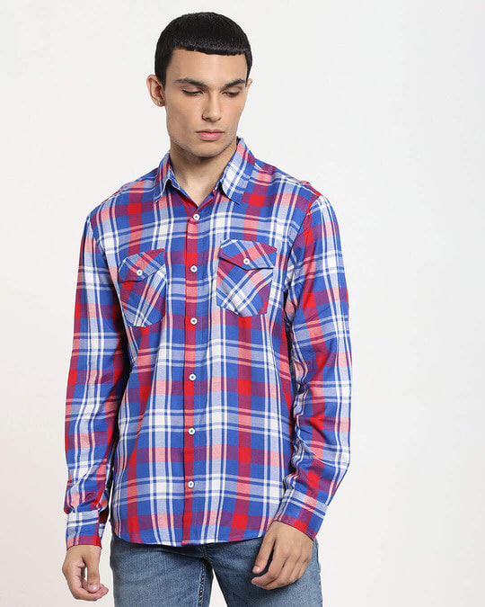 Shop Red Checks Two Pocket Casual Full Sleeve Shirt-Front