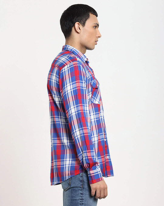 Shop Red Checks Two Pocket Casual Full Sleeve Shirt-Design
