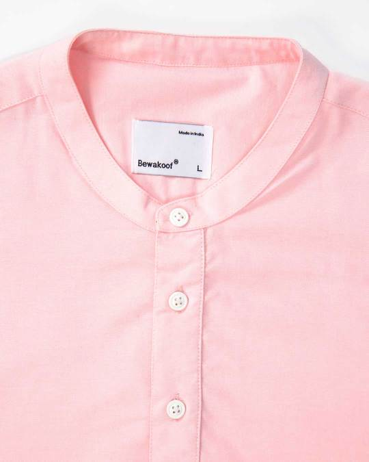 Shop Misty Pink Mandarin Collar Henley Full Sleeve Shirt