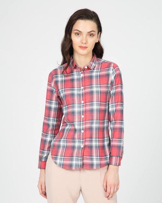 Shop Blush Pink Slim Checked Shirt-Back