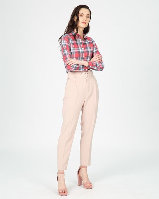 Shop Blush Pink Slim Checked Shirt