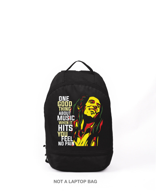 Shop Bob Music Printed Small Backpack-Front