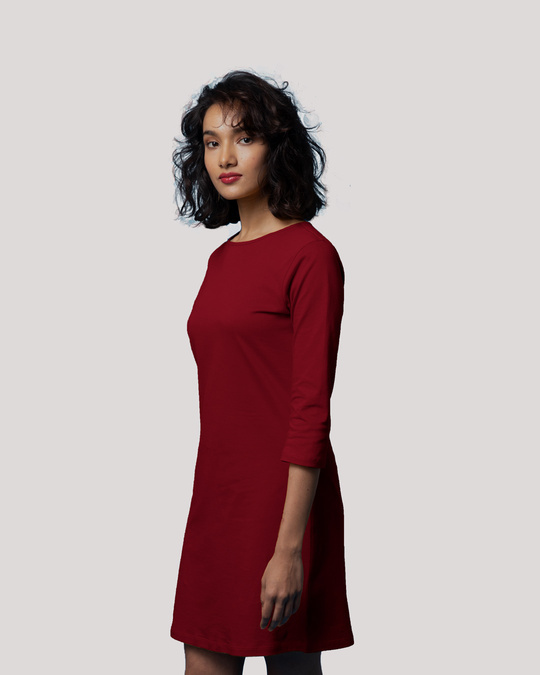 Shop Bold Red Boat Neck 3/4th Sleeve T-Shirt Dress-Back
