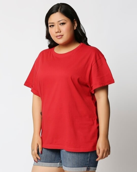 Shop Bold Red Boyfriend Plus Size Boyfriend T-Shirt-Back