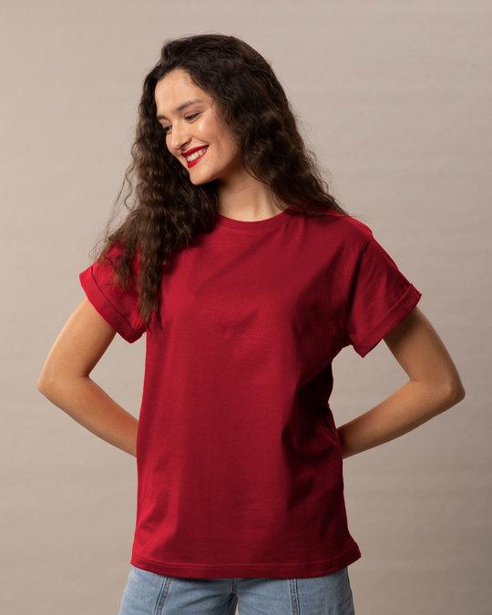 Shop Bold Red Boyfriend T-Shirt-Back