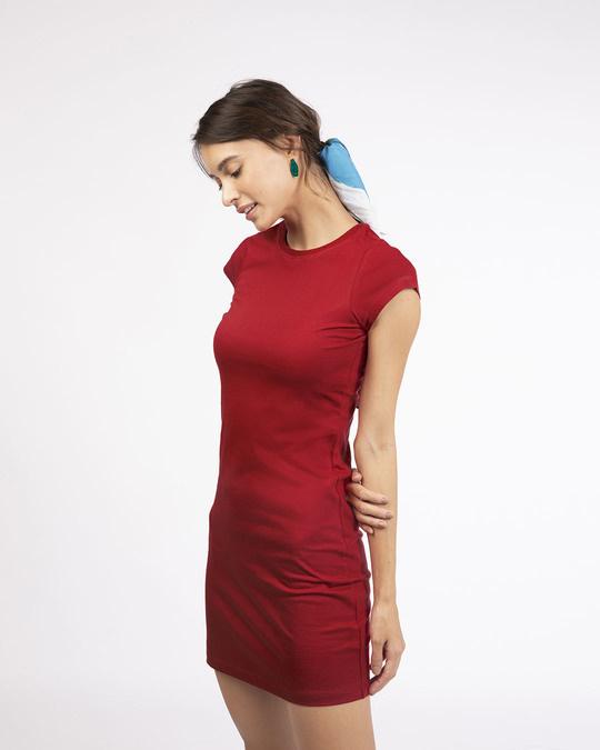Shop Bold Red Cap Sleeve Plain T-Shirt Dress-Back