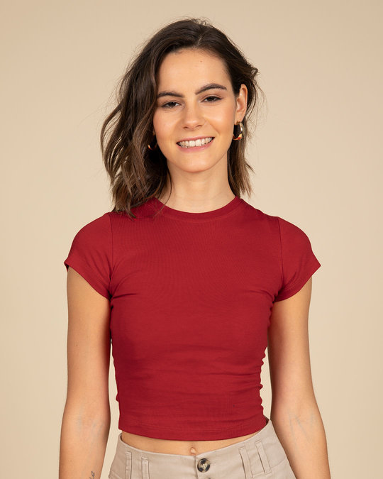 Shop Bold Red Crop Top-Front