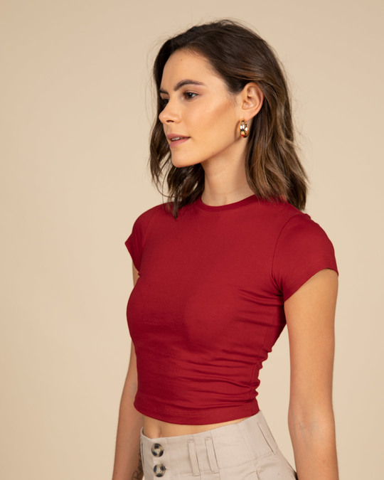 Shop Bold Red Crop Top-Back