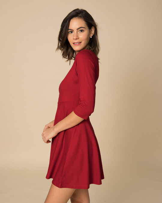Shop Bold Red Flared Dress-Full