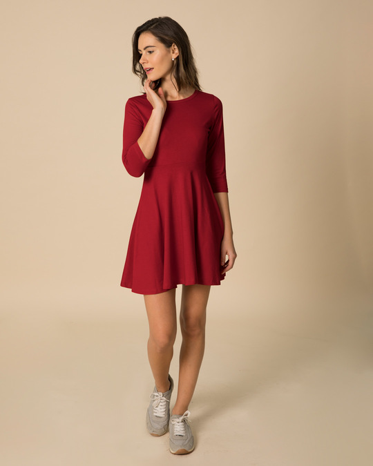 Shop Bold Red Flared Dress