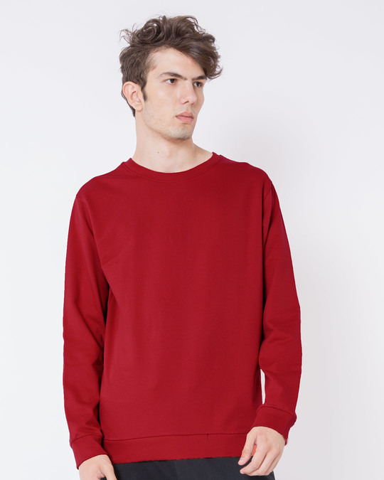 Shop Bold Red Fleece Light Sweatshirt-Front