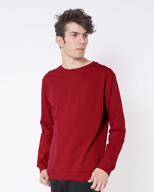 Shop Bold Red Fleece Sweater-Back