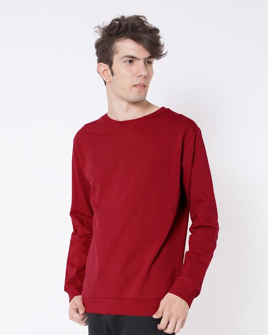 Shop Bold Red Fleece Light Sweatshirt-Back