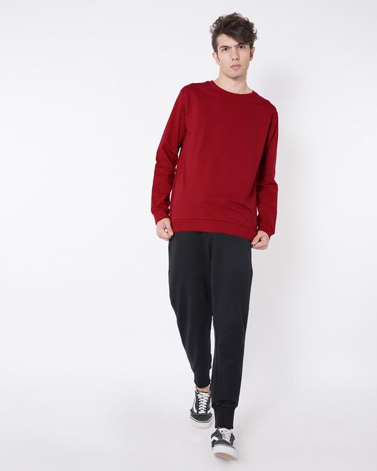 Shop Bold Red Fleece Light Sweatshirt-Full