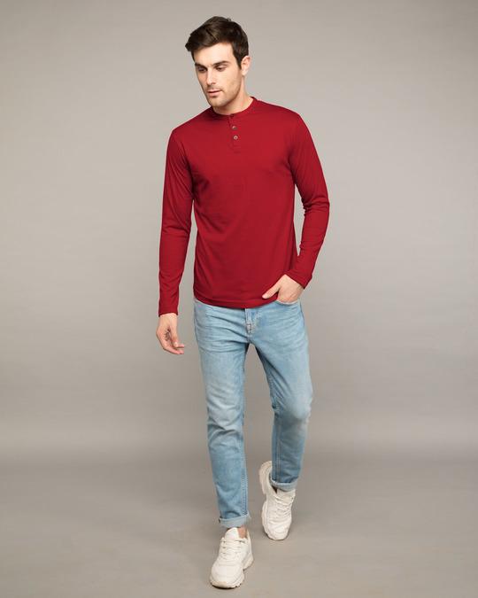 Shop Bold Red Full Sleeve Henley T-Shirt-Full