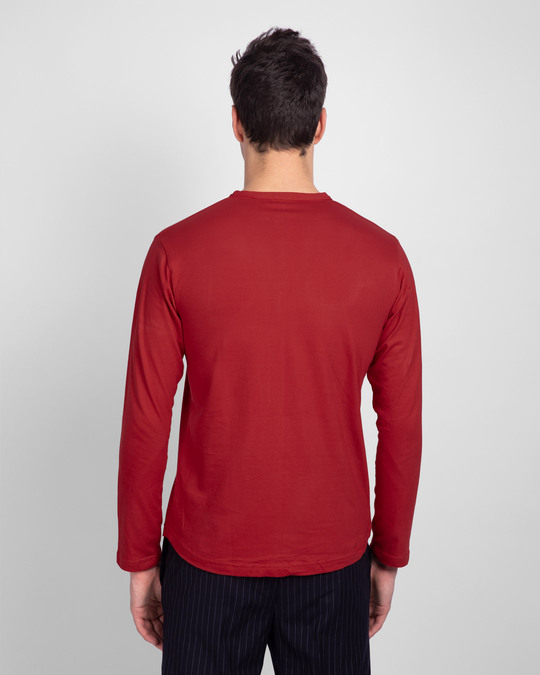 Shop Bold Red Full Sleeve Henley T-Shirt-Design