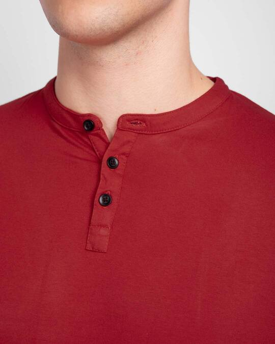Shop Bold Red Full Sleeve Henley T-Shirt