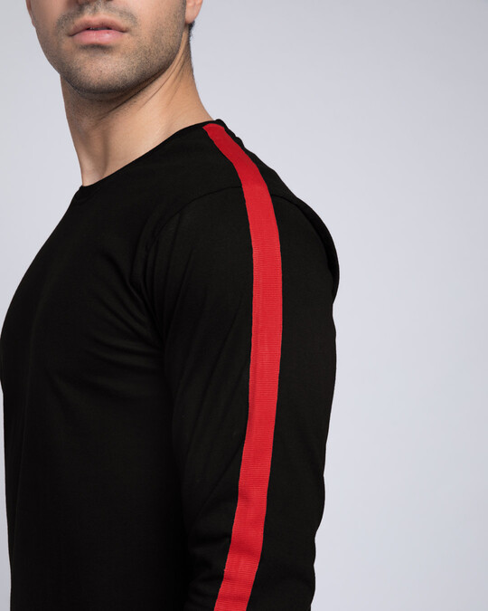 Shop Bold Red Full Sleeve Side Panel T-Shirt