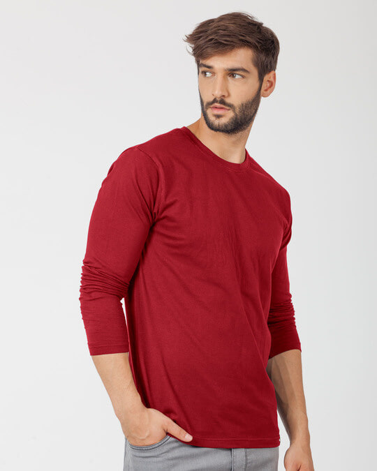 Shop Bold Red Full Sleeve T-Shirt-Back