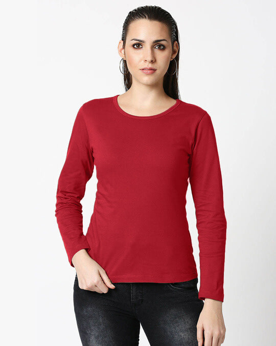 Shop Bold Red Full Sleeves T-Shirt-Front