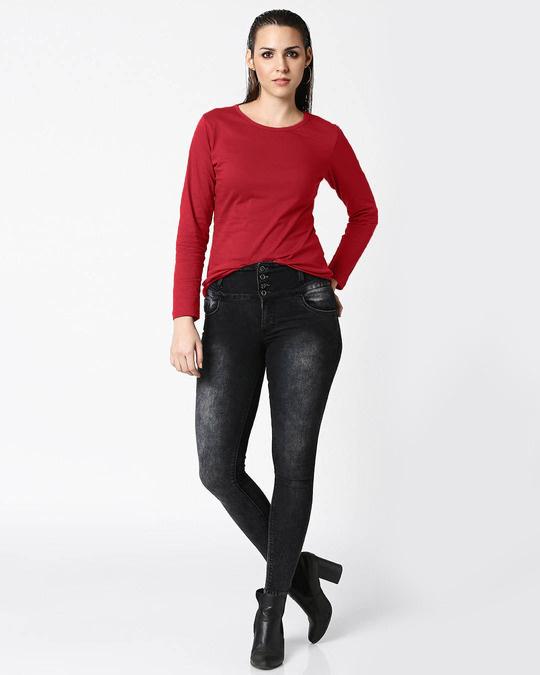 Shop Bold Red Full Sleeves T-Shirt-Full