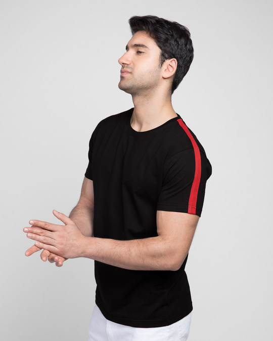 Shop Bold Red Half Side Panel T-shirt-Front