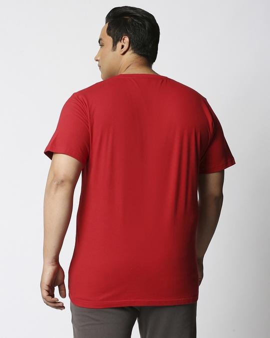 Shop Bold Red Half Sleeve Plus Size T-Shirt-Design
