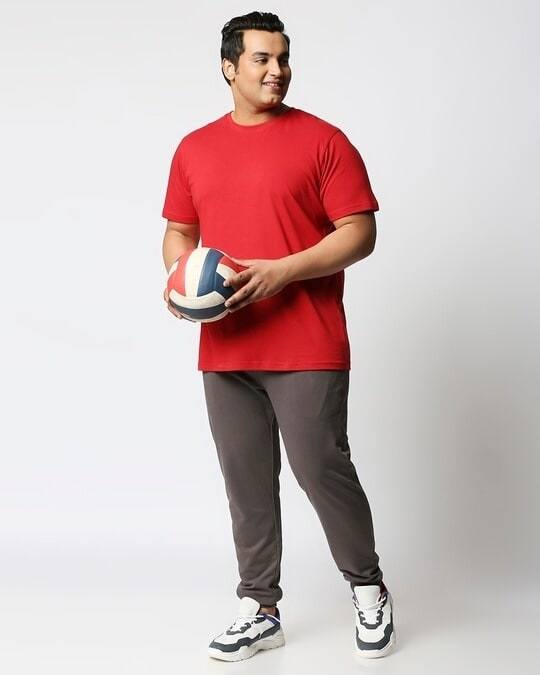 Shop Bold Red Half Sleeve Plus Size T-Shirt-Full
