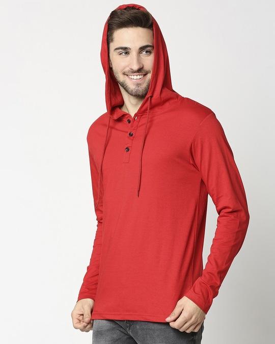 Shop Bold Red Henley Hoodie Full Sleeve T-Shirt-Design