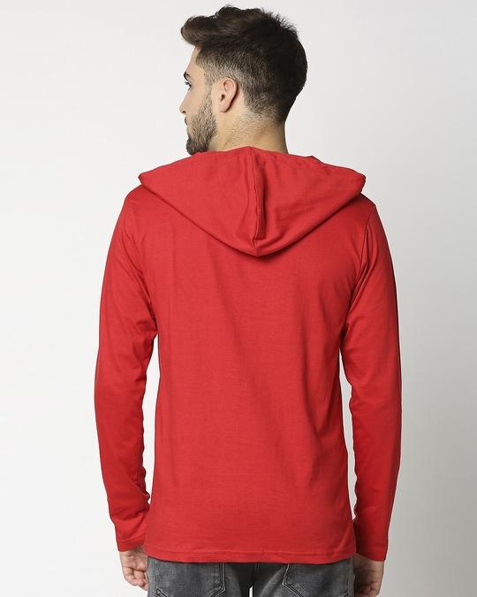 Shop Bold Red Henley Hoodie Full Sleeve T-Shirt-Full