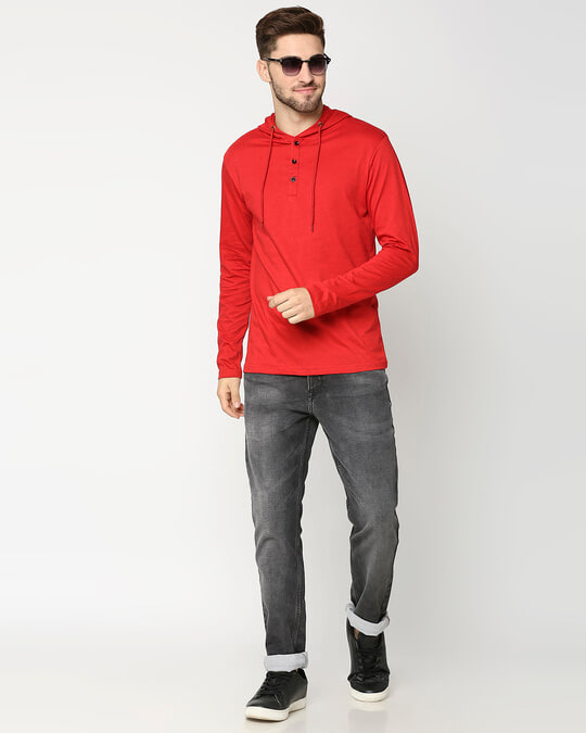 Shop Bold Red Henley Hoodie Full Sleeve T-Shirt