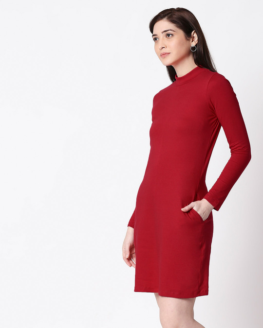 Shop Bold Red High Neck Pocket Dress-Design
