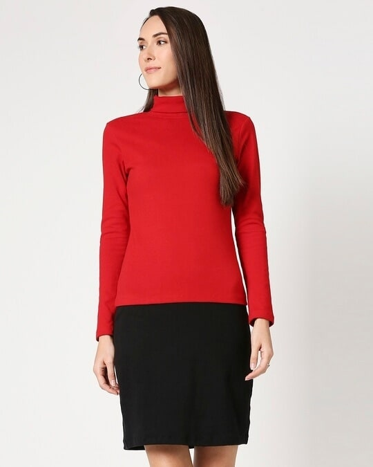 Shop Women's Slip Dress with Red Turtle Neck Top-Front