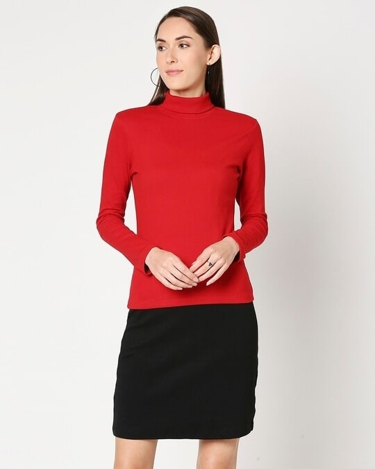 Shop Women's Slip Dress with Red Turtle Neck Top-Back