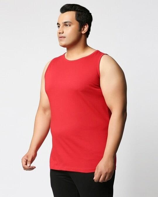 Shop Bold Red Plus Size Vest-Back