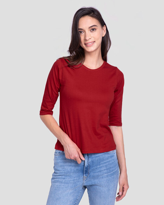 Shop Bold Red Round Neck 3/4th Sleeve T-Shirt-Front