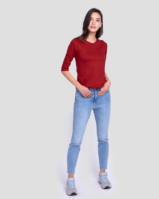 Shop Bold Red Round Neck 3/4th Sleeve T-Shirt-Full