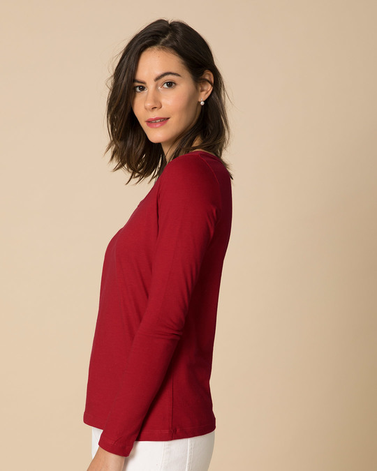 Shop Bold Red Scoop Neck Full Sleeve T-Shirt-Back