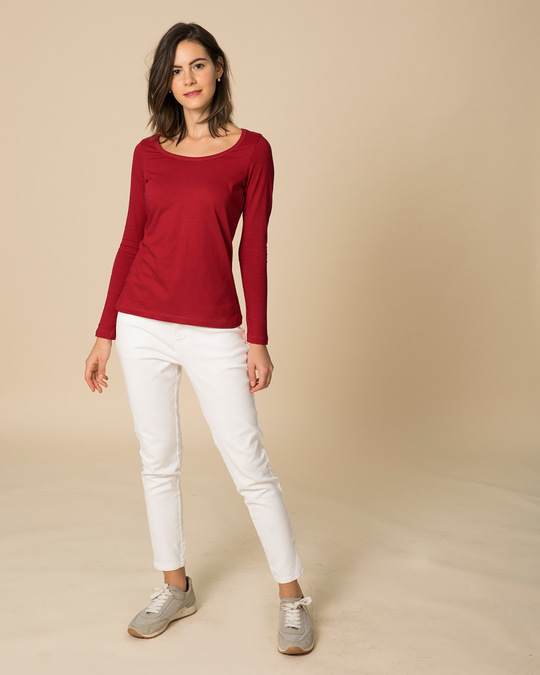 Shop Bold Red Scoop Neck Full Sleeve T-Shirt