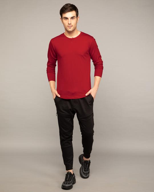 Shop Bold Red Slit Neck Full Sleeve Henley T-shirt-Full