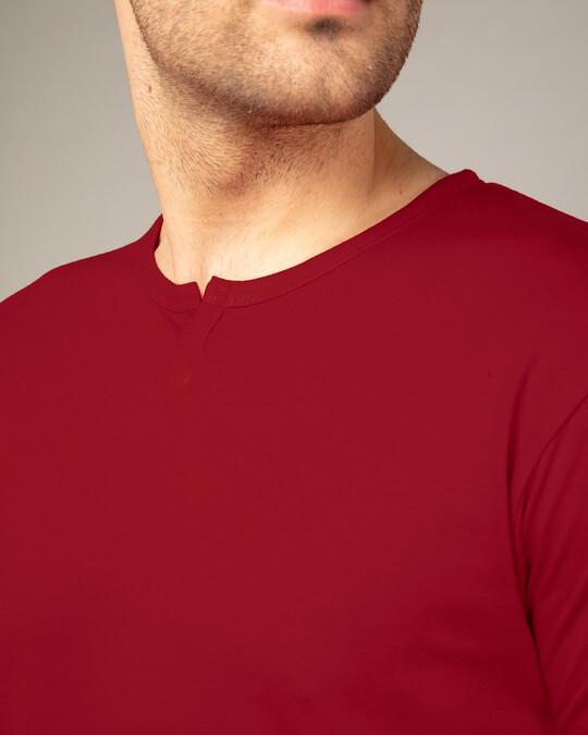 Shop Bold Red Slit Neck Full Sleeve Henley T-shirt