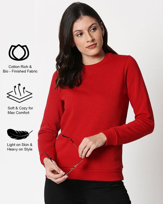 Shop Bold Red Fleece Sweater