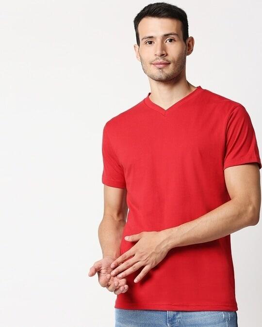 Shop Bold Red V Neck Half Sleeve T-Shirt-Front
