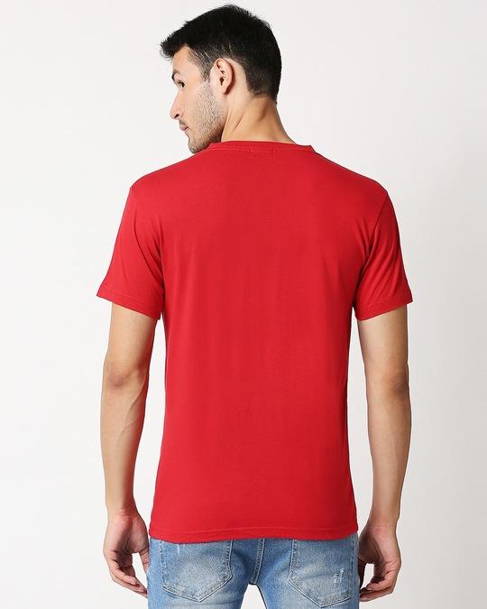 Shop Bold Red V Neck Half Sleeve T-Shirt-Full