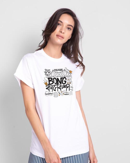 Shop Bong Connection Doodle Boyfriend T-Shirts White -Front